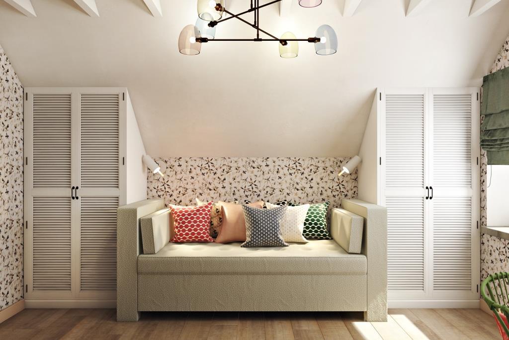 Чаще всего, в мансардных помещениях, там где минимальная высота - размещают предметы мебели, т.к человеку стоять в этих зонах будет не комфортно - потолок будет давить
