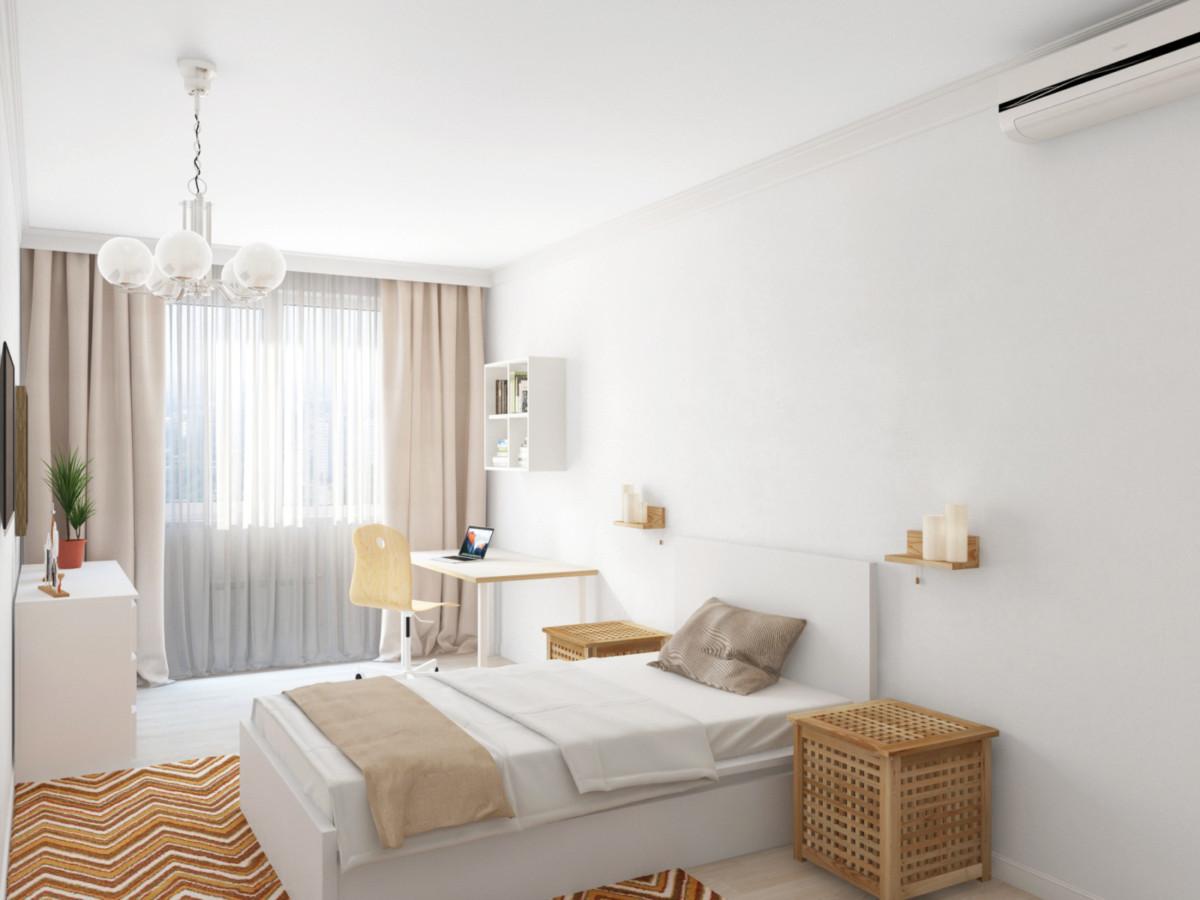 Детская комната — белый и бежевый, единственное яркое пятно — ковёр в коричнево-бежевых тонах.