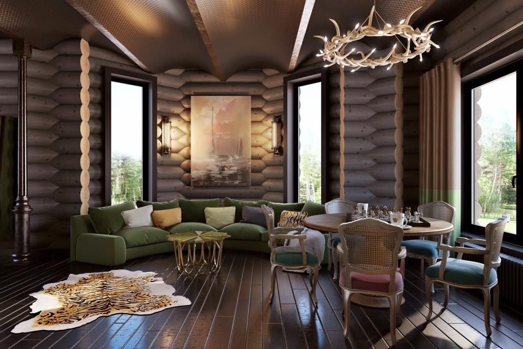 Плавные и округлые предметы способствуют расслаблению и приятному времяпрепровождению. Поэтому, в зону отдыха мы уместно вписали полукруглый диван в эркере и круглый обеденный стол по центру помещения. Форма круглого бревна и металлические своды перекрытия дополняют это пространство