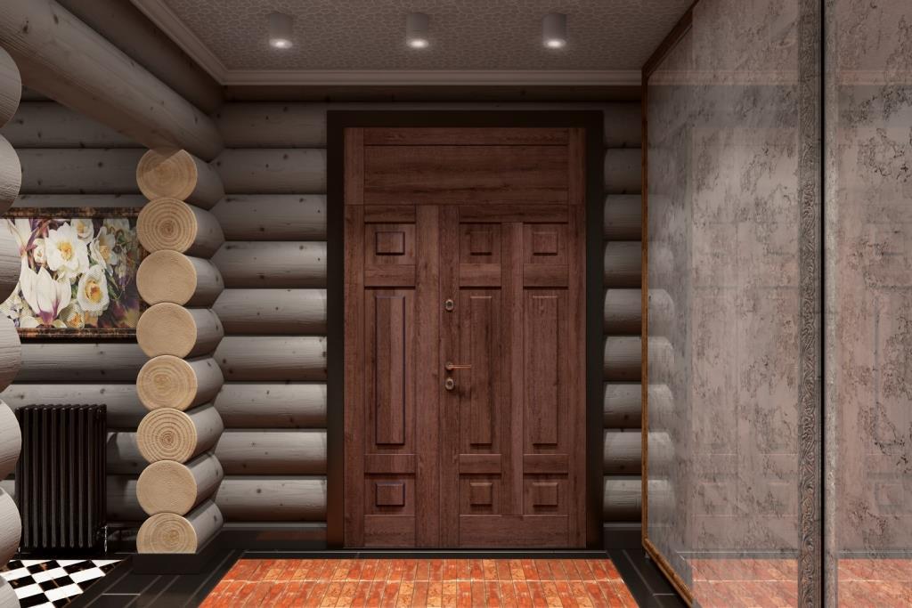 Вход в дом очень важен для первого восприятия. Мы создали следующие аспекты: большая дверь, теплый пол из старинного кирпича, скрытая система хранения за состаренным зеркалом и стильное колористическое решение
