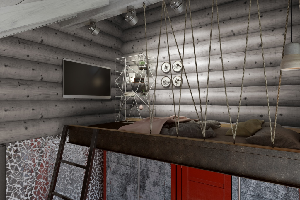 Получилось уютное, безопасное место, которое хорошо вписано в это мансардное пространство. Эта кровать выполнена мастером и сварщиком, которые использовали металлический двутавр, уголки и сетку. Поверх металла была нанесена защитная краска по металлу черного цвета, с глянцевой текстурой