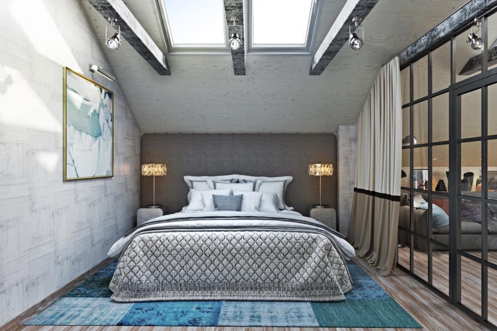 Нежное, наполненное светом пространство спальной комнаты, является частью большого пространства приватной зоны. Спальная зона отсечена воздушной, стеклянной перегородкой в металлическом каркасе. Перегородка пропускает дневной свет, а при желании ее можно занавесить шторой