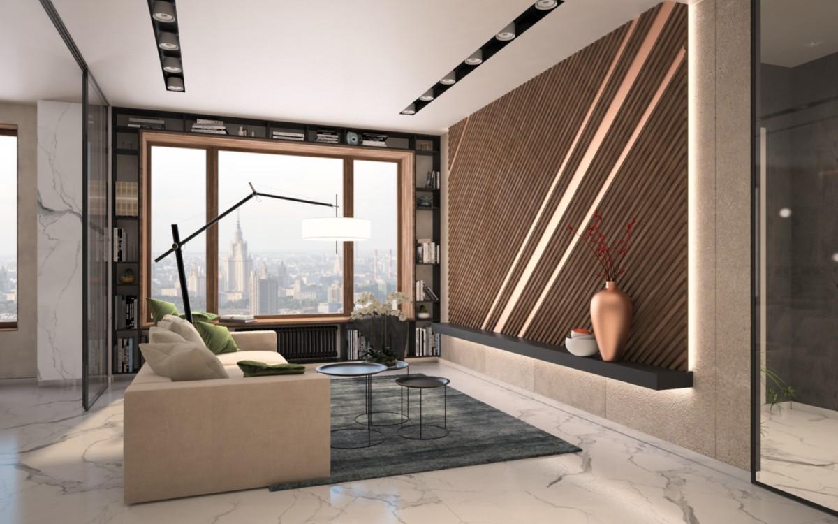 Квартира с деревянными панелями, зеркальными стенами и ванной в спальне