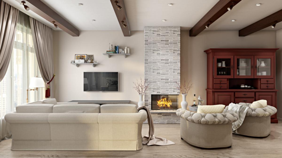 Зона гостиной площадью 45 кв.м. Пространство насыщено сценариями досуга: здесь можно приятно провести время в кресле у камина; можно с любимым в обнимку на удобном диване смотреть телевизор. А если проголодались, то можно быстро попасть на кухню и перекусить за красивым столом