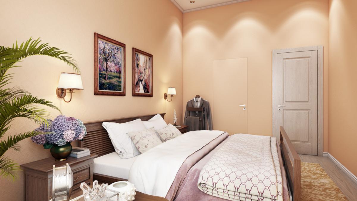 """Спальня площадью 20кв.м. НА стенах - рельефные обои под покраску с классическим рисунком. Мебель из массива в классическом стиле. Бра и люстра бронзового цвета со светлыми абажурами поддерживают настроение комнаты. Кресло в ткани с принятом """"бабочки"""" добавляет легкости и игривости в спокойный интерьер. Картины с романтической тематикой поддерживают настроение """"релакса и расслабления"""" в комнате."""
