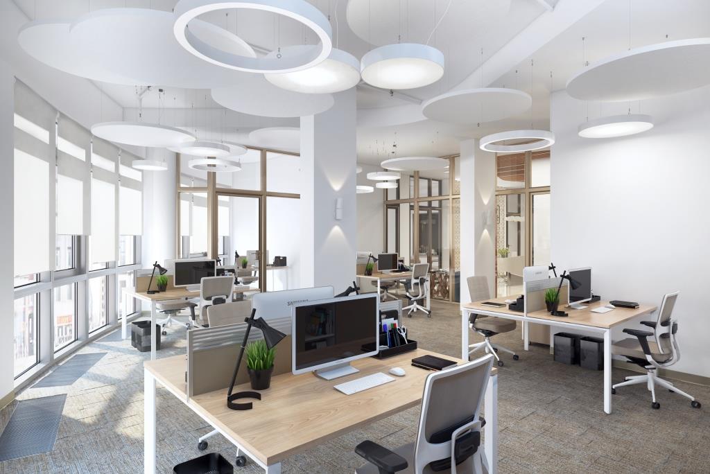 Интерьер офиса необычной формы с крутыми светильниками