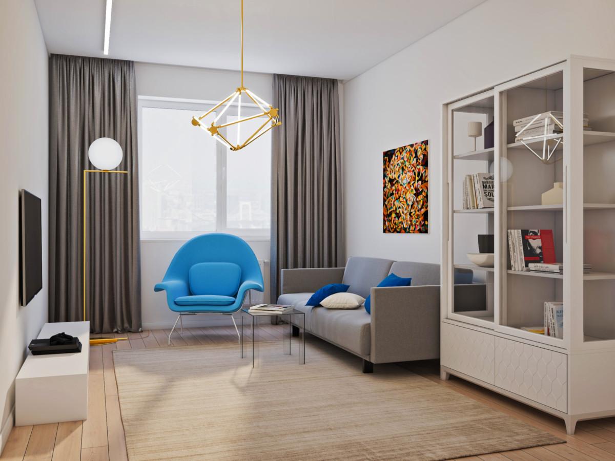Интерьер трёхкомнатной квартиры в благородных синих оттенках