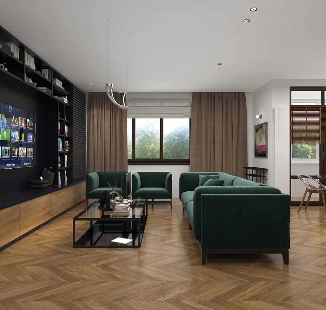 Скандинавский стиль и зелёный диван в мужском интерьере двухкомнатной квартиры