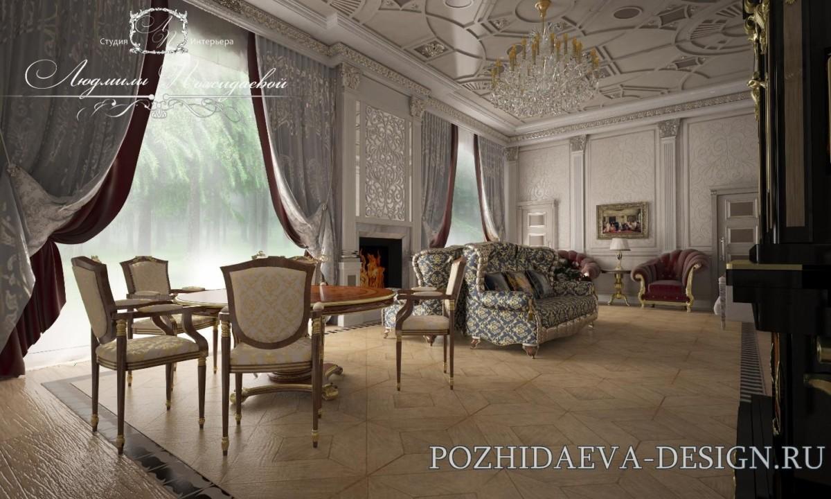 Потолки не должны быть скучными и вялыми. Камин напоминает о гостеприимном домашнем очаге.