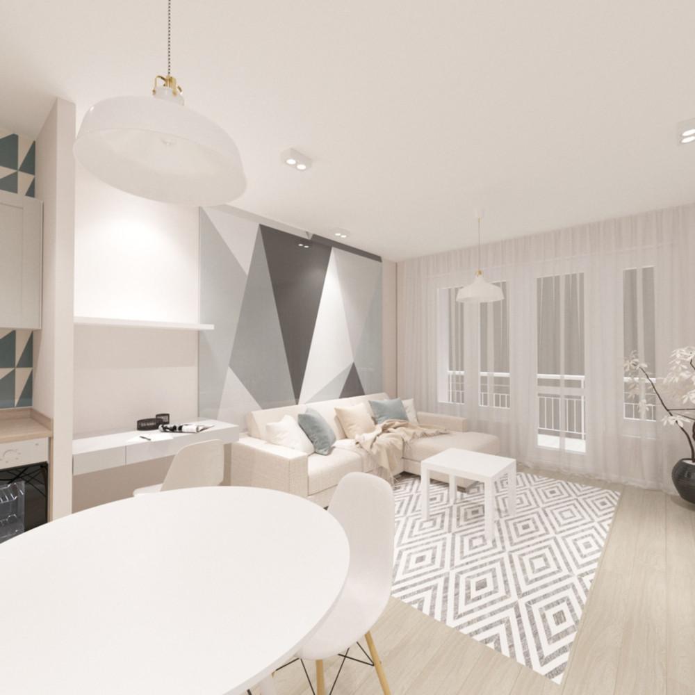 Дизайн квартиры-студии площадью 29 метров в скандинавском стиле с двумя гардеробами