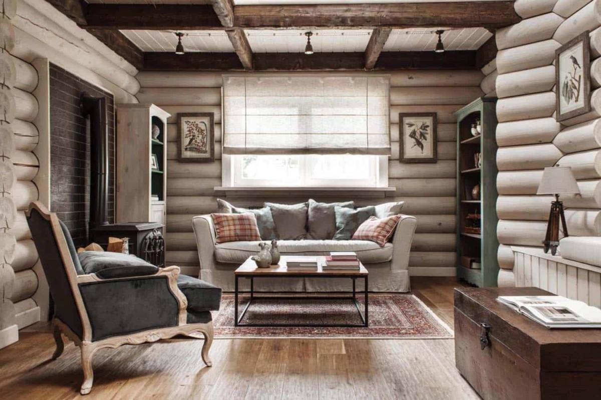 Дизайн гостиной в доме из бруса: 15 фото интерьеров