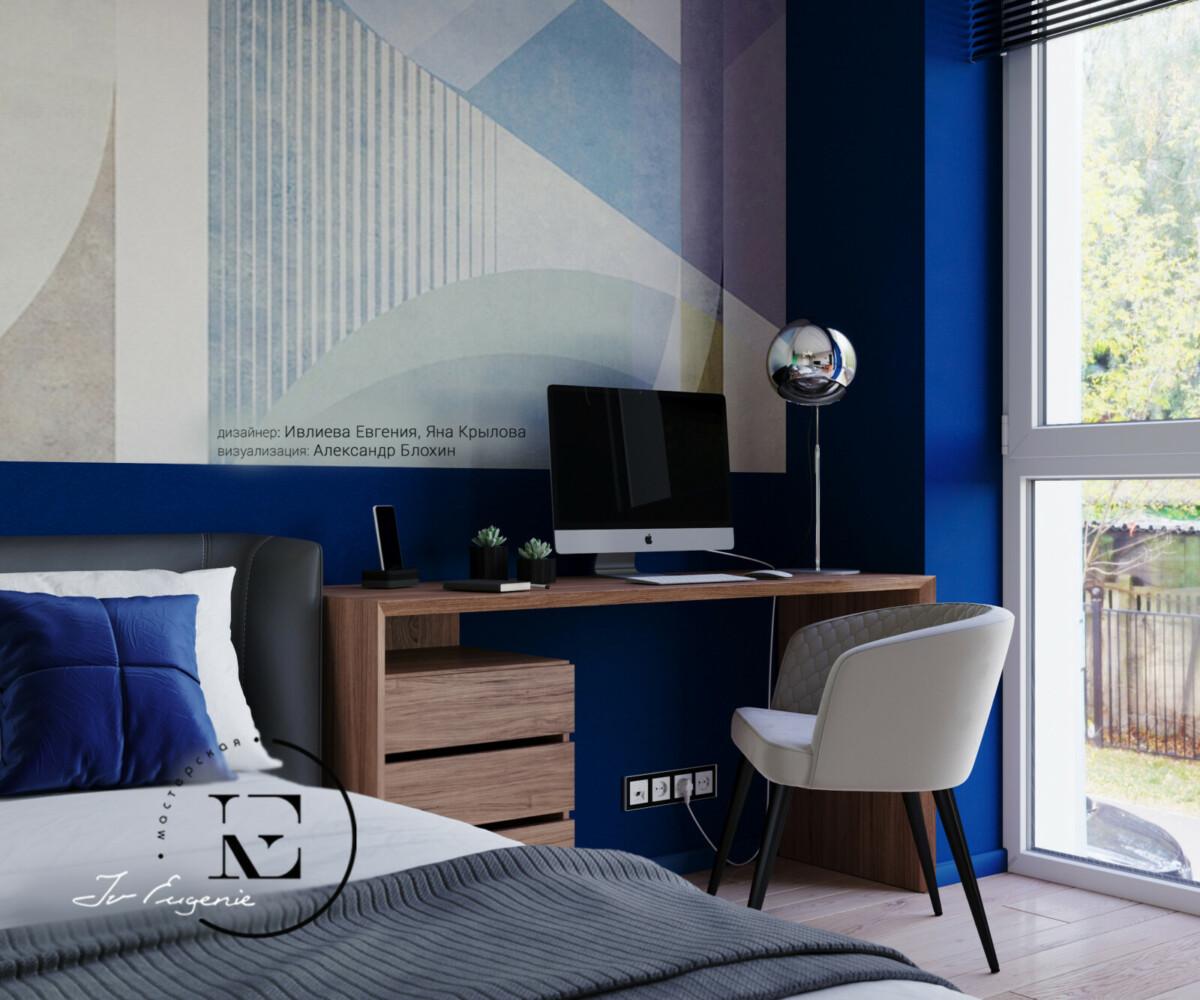 Мы видим рабочую зону, устроенную в спальне. Небольшой компьютерный стол хорошо вписался в общую концепцию. Удобный стул с мягким сиденьем может служить дополнительным местом для чтения.